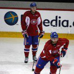 Prospect Greg Pateryn begins a drill as Danny Kristo waits his turn at Habs 2012 Development Camp - Part 1. (Photo by Rick Stephens | All Habs)