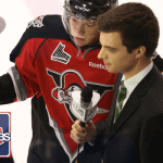 Canadiens' prospect Olivier Archambault is interviewed by Mikaël Lalancette of TVA Sports before the game.
