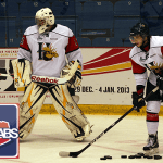 Chris Clarke and Martin Frk of the Halifax Mooseheads warm up before the game.