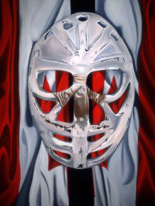 """Goalie's Mask: Red, White & Dryden """"Iconic"""" by Brandy Saturley"""