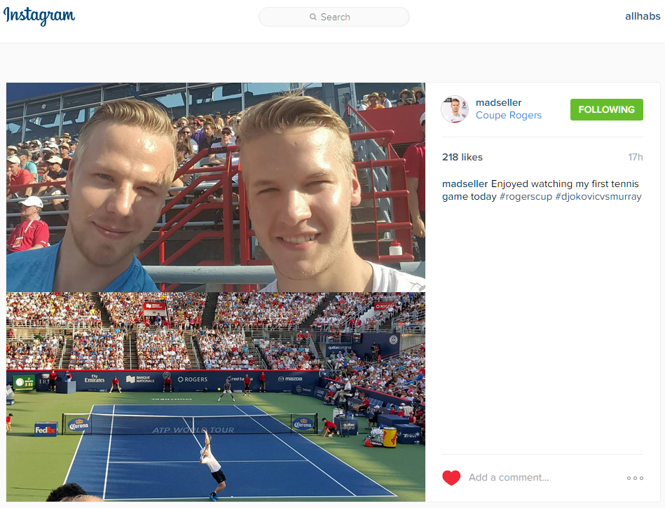 "Mads Eller on Instagram ""Enjoyed watching my first tennis game today rogerscup djokovicvsmurray"""