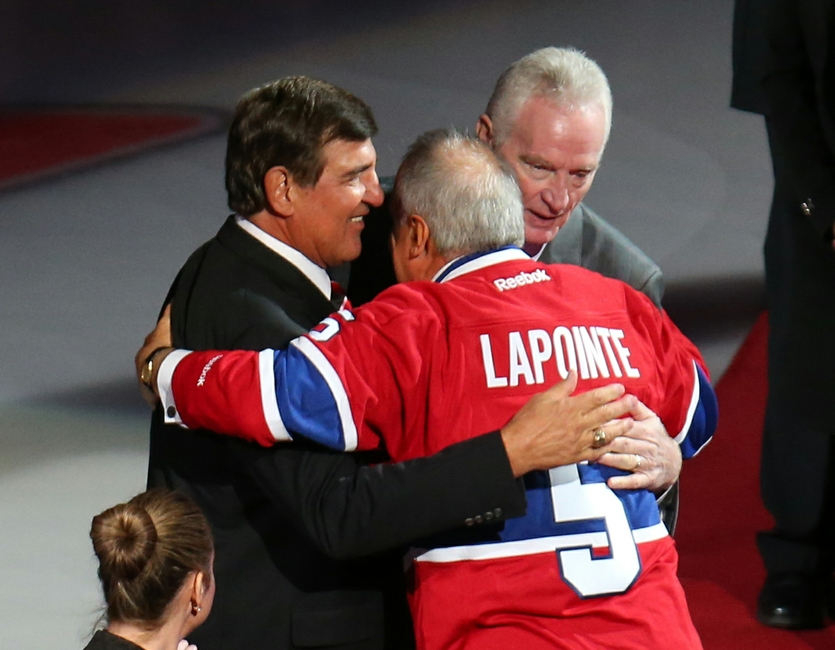 (Jean-Yves Ahern-USA TODAY Sports) The Big Three at Lapointe's recent jersey retirement.