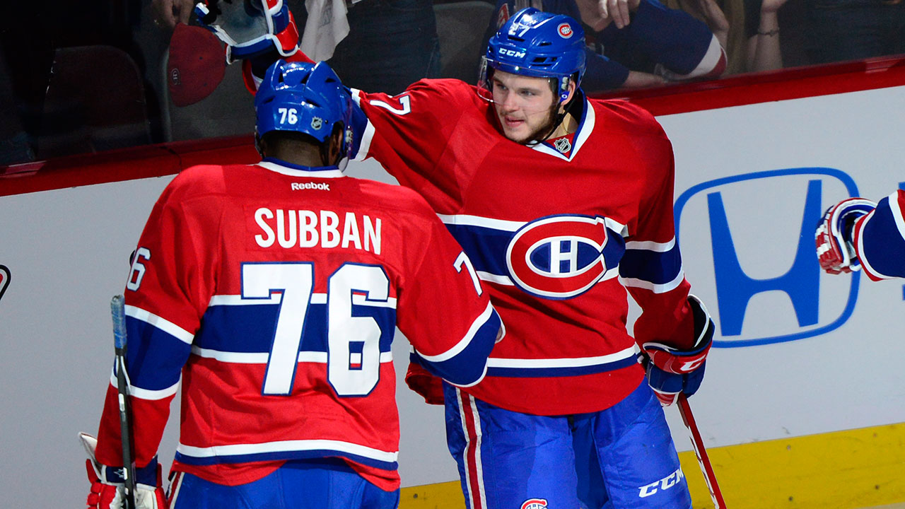 Alex Galchenyuk and PK Subban (Photo by: Paul Chiasson/CP)