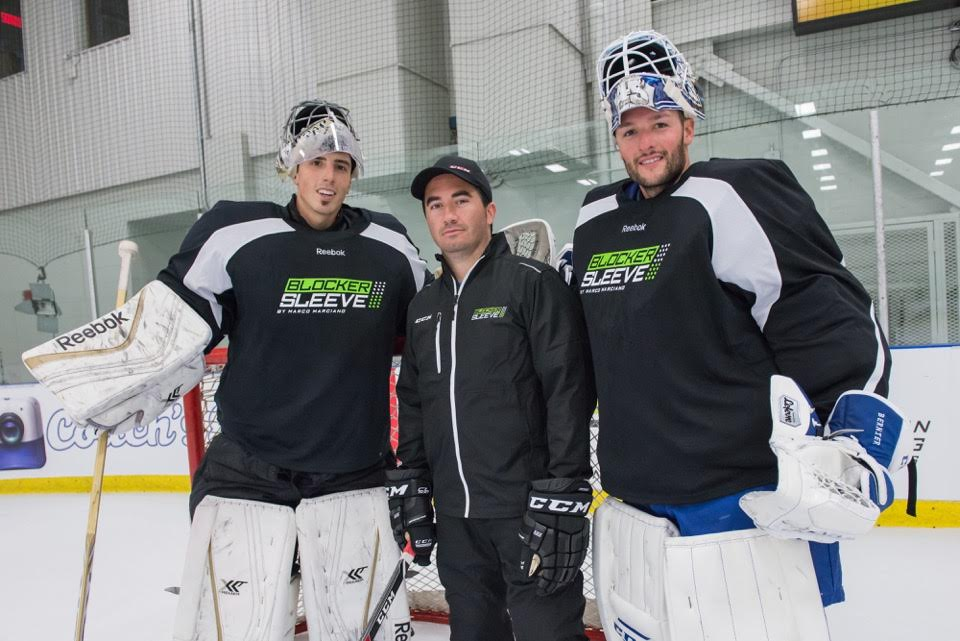From L-R: Marc-Andre Fleury, Marco Marciano, Jonathan Bernier (Photo courtesy of Blocker Sleeve)